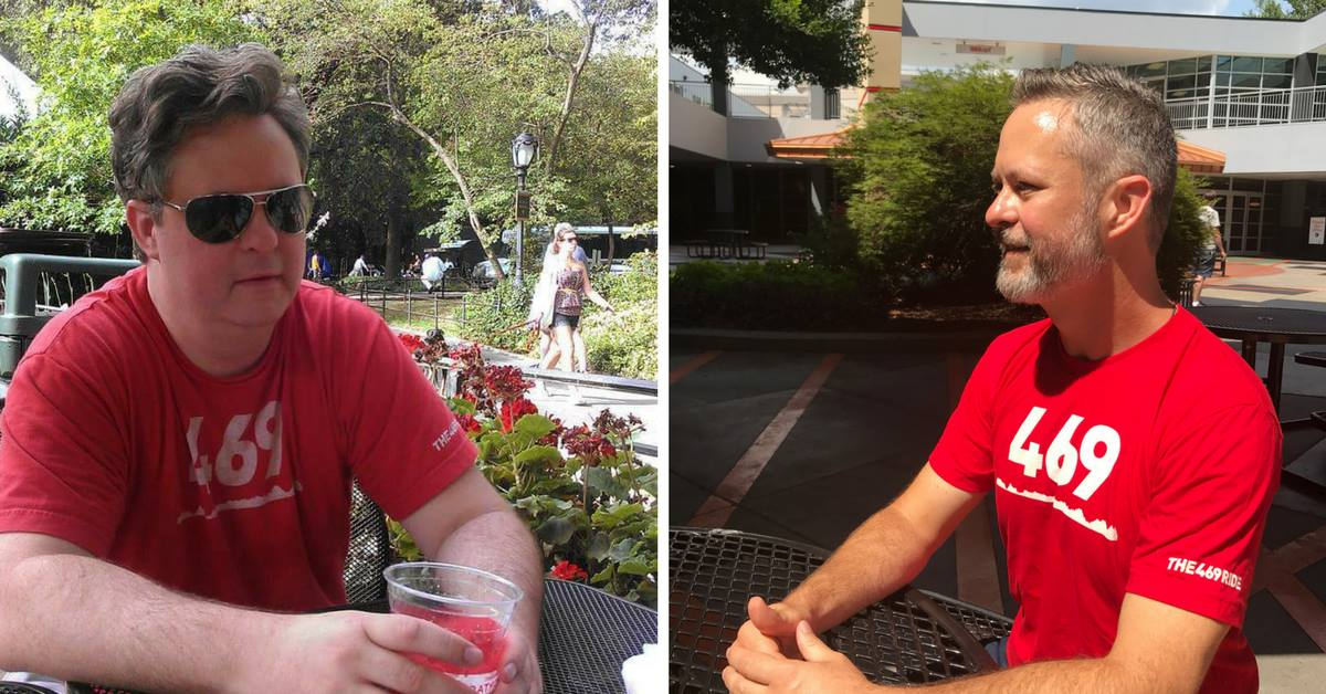 Before and after picture in same red shirt